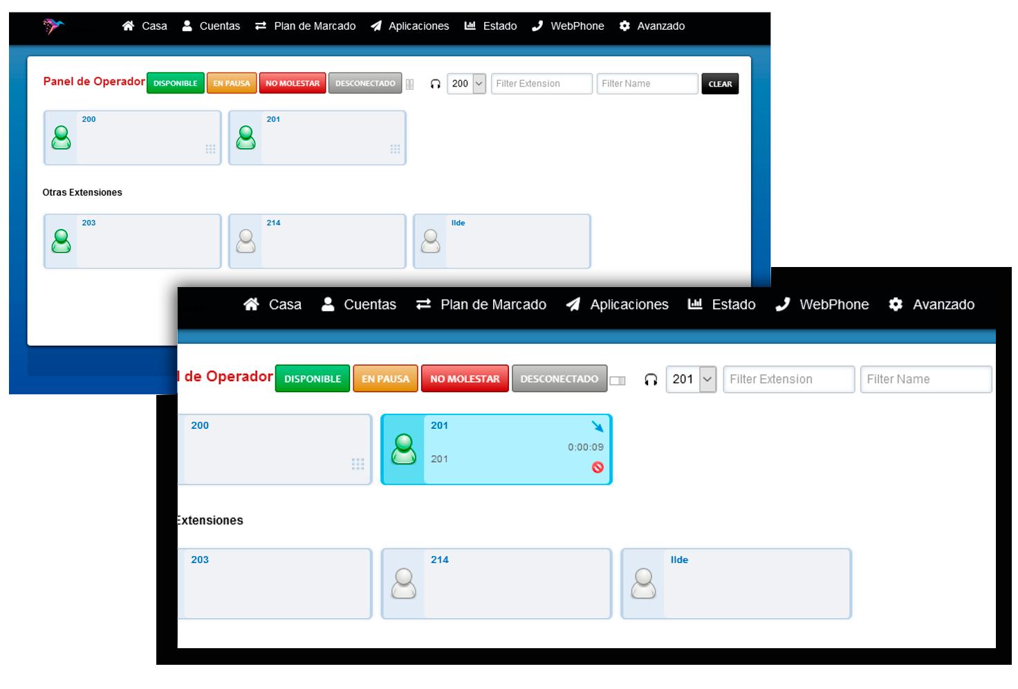 Centralita Virtual Panel Operador